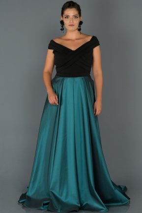Long Oil Green Oversized Evening Dress AB1073