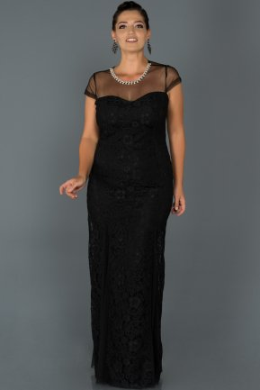 Long Black Oversized Evening Dress ABU135