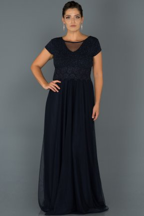 Long Navy Blue Plus Size Evening Dress AB39012