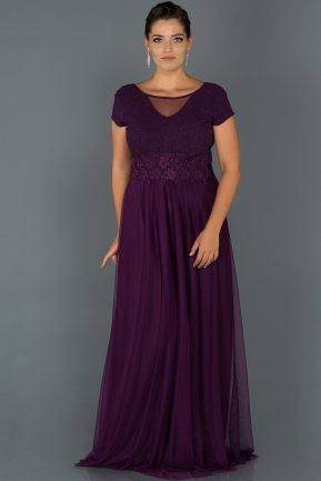 Long Purple Plus Size Evening Dress ABU171