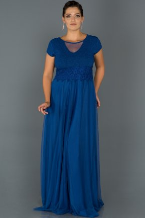Long Sax Blue Plus Size Evening Dress AB39012