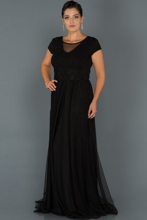 Long Black Plus Size Evening Dress ABU171
