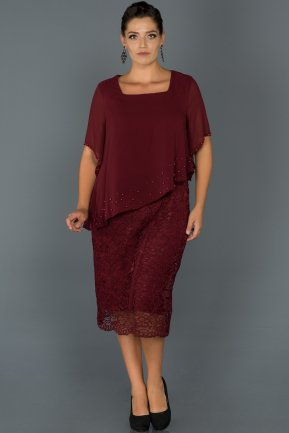 Short Burgundy Oversized Evening Dress AB39128