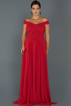 Long Red Oversized Evening Dress AB9900