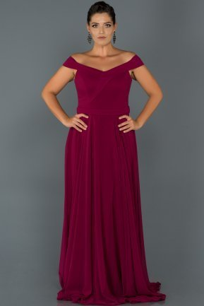Long Plum Oversized Evening Dress AB9900