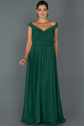 Long Emerald Green Oversized Evening Dress ABU008