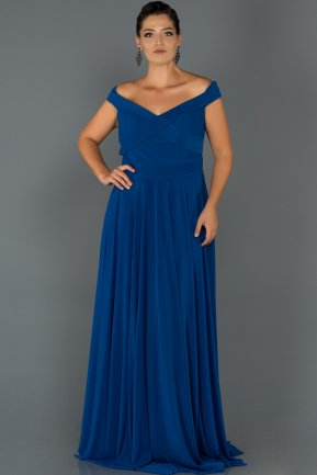 Sax Blue Long Oversized Evening Dress ABU008