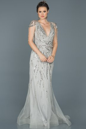 Long Silver Mermaid Prom Dress ABU156