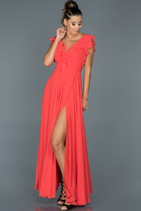 Long Coral Engagement Dress ABU136