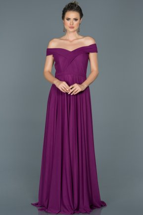 Long Purple Prom Gown ABU021