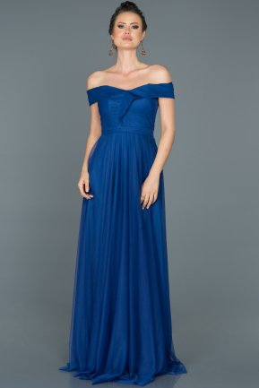 Long Sax Blue Prom Gown ABU021