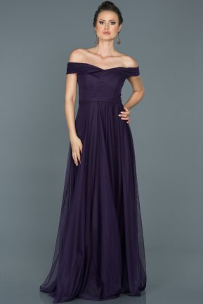 Long Dark Purple Prom Gown ABU021