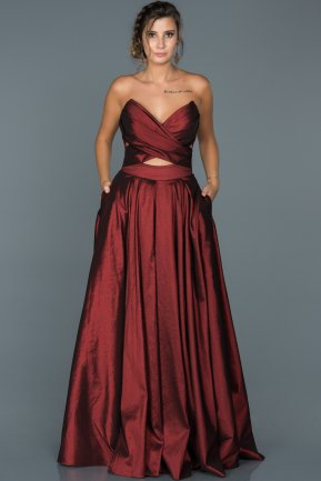 Long Burgundy Engagement Dress ABU060