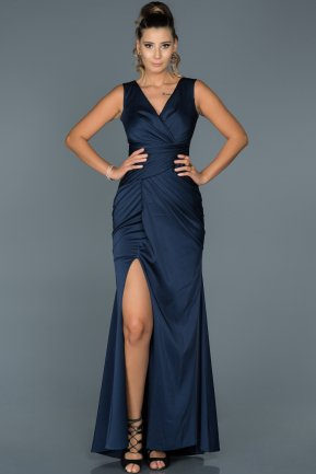 Long Navy Blue Prom Gown ABU049