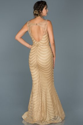 Long Gold Mermaid Prom Dress ABU429
