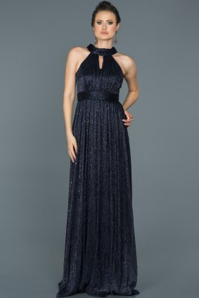 Long Navy Blue Prom Gown ABU413