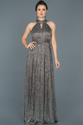 Long Black-Silver Prom Gown ABU413
