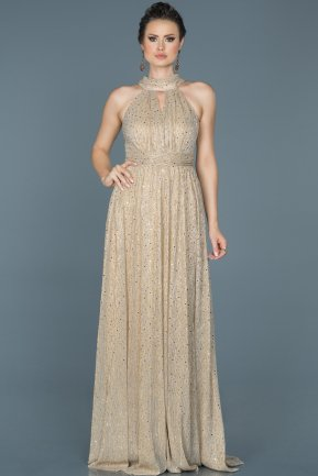Long Gold Prom Gown ABU413