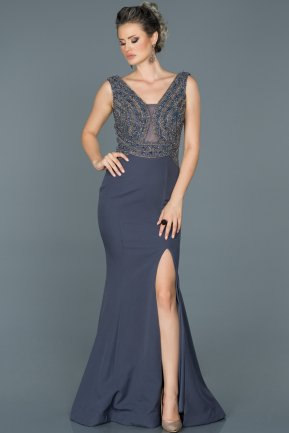 Long İndigo Engagement Dress ABU422