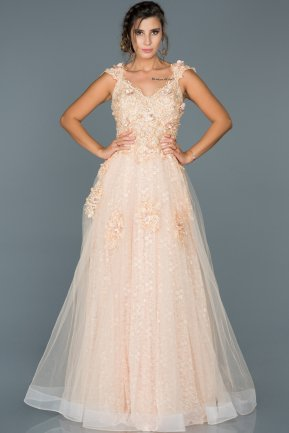 Long Salmon Engagement Dress ABU428