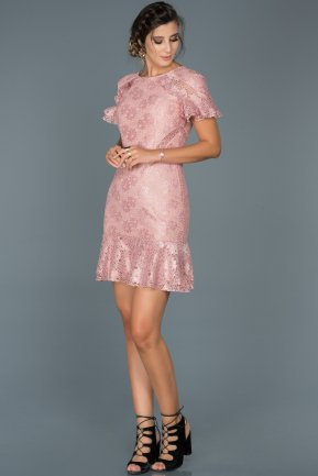 Short Rose Colored Invitation Dress ABK186