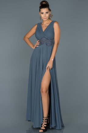 Long İndigo Engagement Dress ABU448