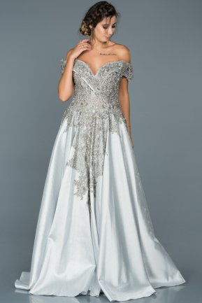Long Grey Engagement Dress ABU427