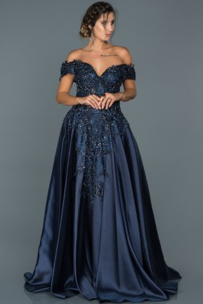 Long Navy Blue Engagement Dress ABU427