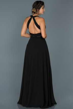 Long Black Engagement Dress ABU418