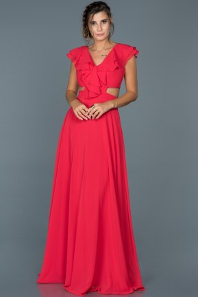 Long Red Engagement Dress ABU072