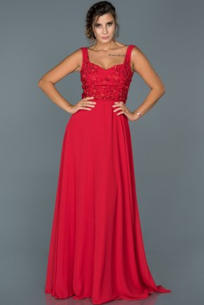 Long Red Engagement Dress ABU419