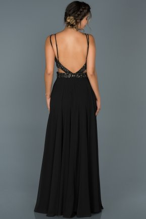 Long Black Engagement Dress ABU416