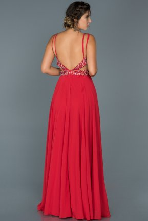 Long Red Engagement Dress ABU416
