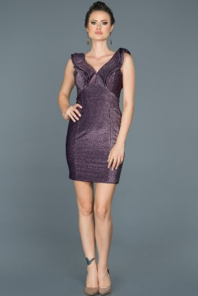 Short Plum Invitation Dress ABK196