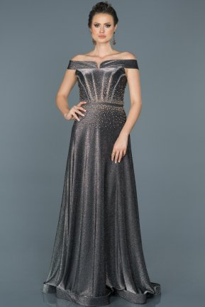 Long Black-Silver Engagement Dress ABU450