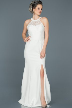 Long White Mermaid Prom Dress ABU473