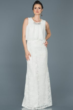 Long Ecru Evening Dress ABU441