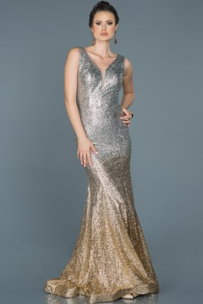 Long Grey Mermaid Prom Dress ABU431