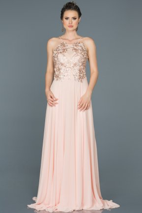 Long Salmon Evening Dress ABU190