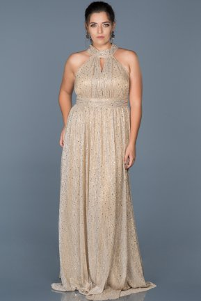 Long Gold Oversized Evening Dress ABU413