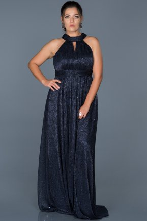 Long Navy Blue Oversized Evening Dress ABU413