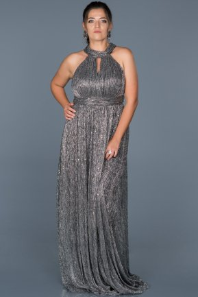 Long Black-Silver Oversized Evening Dress ABU413