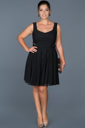 Short Black Oversized Evening Dress ABK003