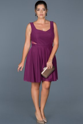 Short Purple Oversized Evening Dress ABK003