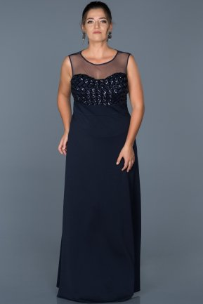 Long Navy Blue Plus Size Evening Dress ABU465