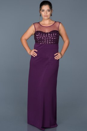 Long Purple Plus Size Evening Dress ABU465