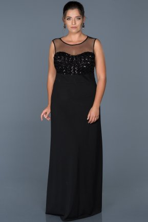 Long Black Plus Size Evening Dress ABU465
