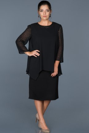 Short Black Plus Size Evening Dress ABK209