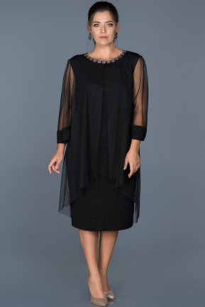 Short Black Plus Size Evening Dress ABK210