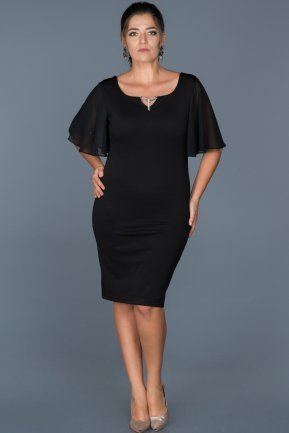 Short Black Plus Size Evening Dress ABK211
